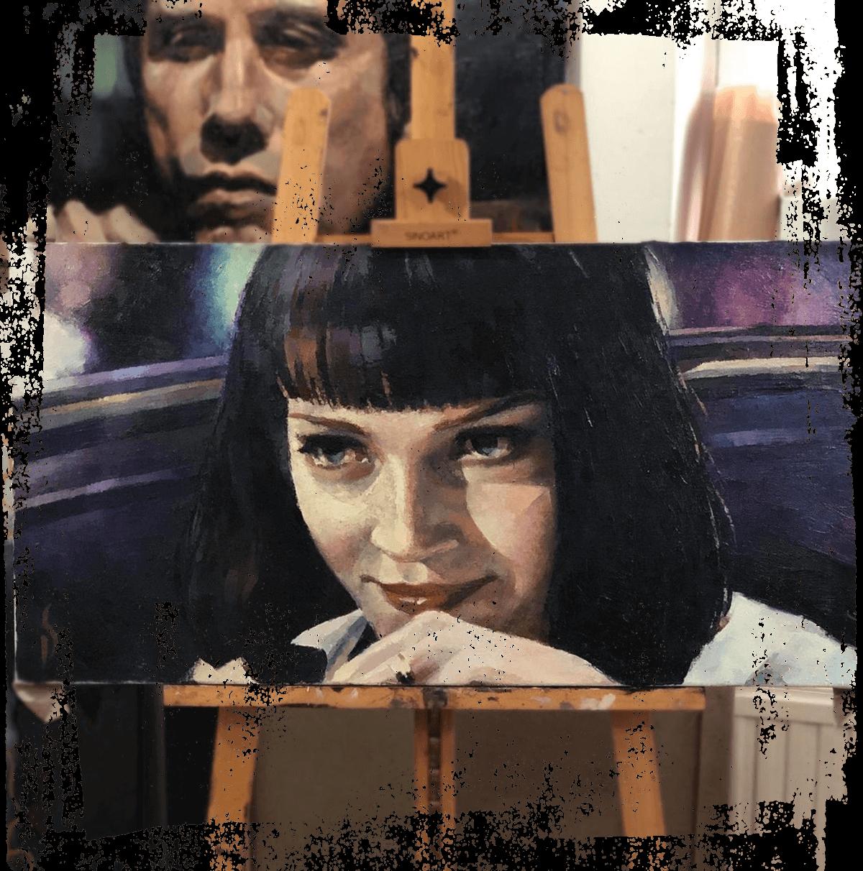 Dmitri Shestakov Taidetaulut Mia Wallace - Uma Turman - Pulp Ficton art