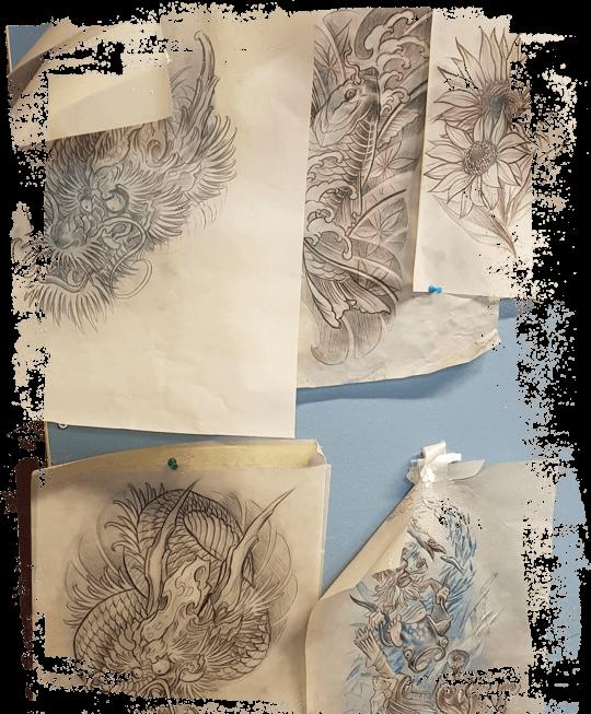 artwork tattoo studio kuvatausta luonnokset isompi 1